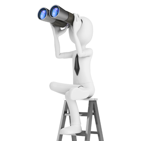 ladder of success: 3d man with binocular on a ladder isolated on white background