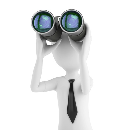 3d man businessman holding binoculars looking for opportunities on white background photo
