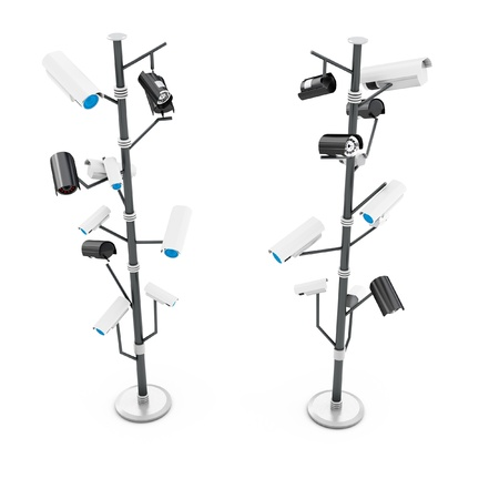3d security cameras surveillance concept isolated on white background Stock Photo - 18873768