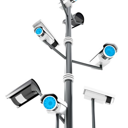 3d security cameras surveillance concept isolated on white background photo