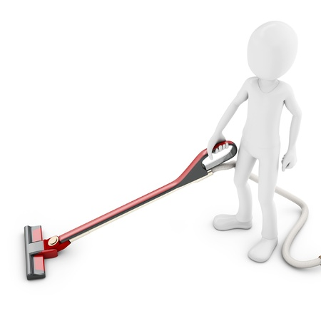 cartoon cleaner: 3d man with vacuum cleaner on white background
