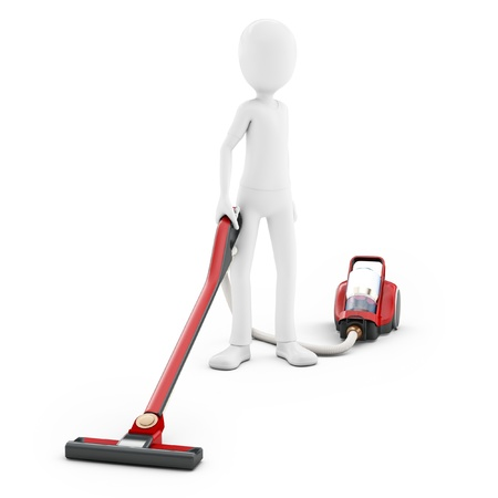 vacuuming: 3d man with vacuum cleaner on white background