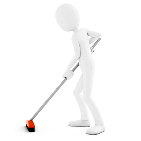 sweeping: 3d man cleaning with broom on white background