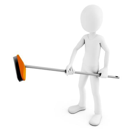empleadas domesticas: Hombre 3d limpieza con escoba sobre fondo blanco