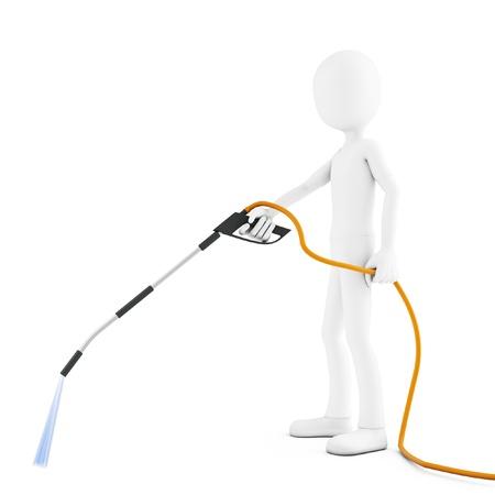jet stream: 3d hombre de limpieza con chorro de agua en el fondo blanco