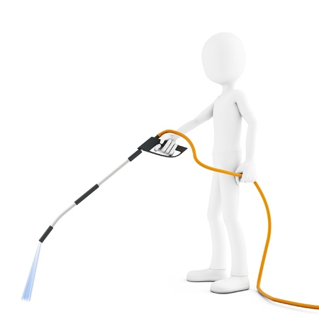 water hoses: 3d man cleaning with water jet on white background Stock Photo