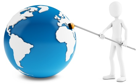 3d man cleaning globe with broom on white background photo