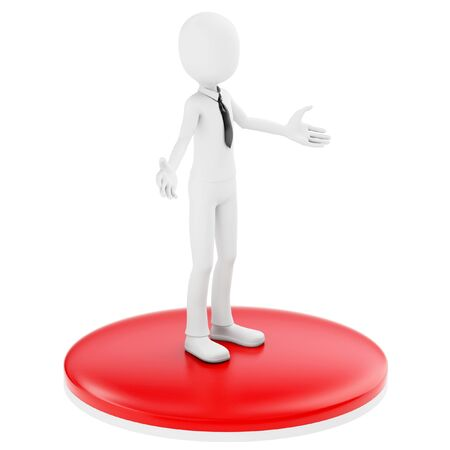 homecoming: 3d man businessman welcoming with open arms on white background