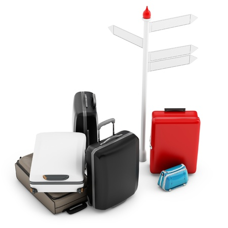 3d pile of luggage by a sign on white background Stock Photo - 19265970