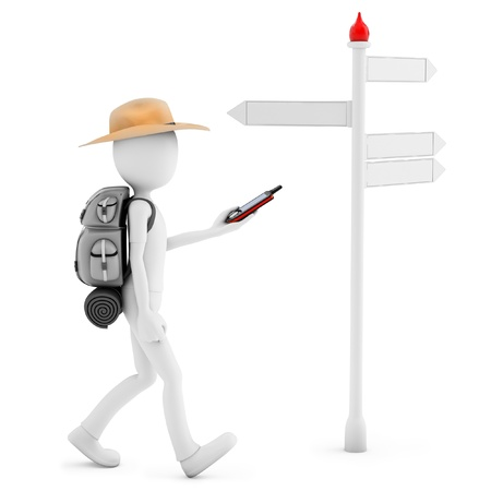 3D man with gps  following a direction  isolated on white background photo