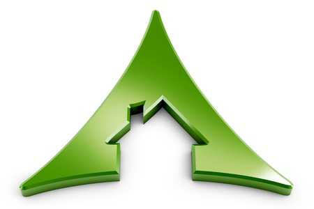3d house icon triangle isolated on white background photo