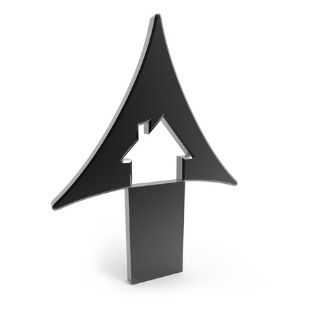 rising prices: 3d black up arrow with house inside rising prices in housing market on white background