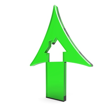 rising prices: 3d green up arrow with house inside rising prices in housing market on white background Stock Photo
