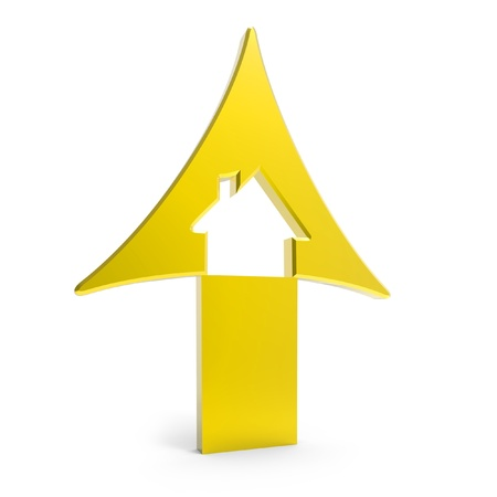 rising prices: 3d golden up arrow with house inside rising prices in housing market on white background