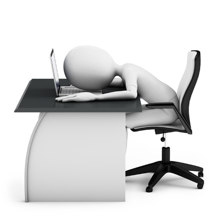 3d man sleeping on a desk with laptop on white background photo