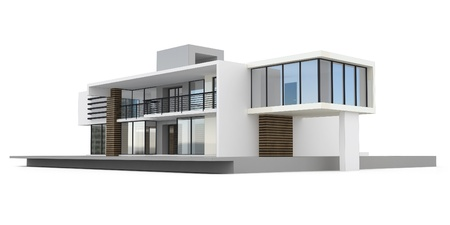 architecture model: 3d house isolated on white rendered generic