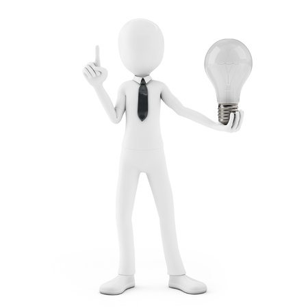 3d man holding a light bulb while thinking on white background photo