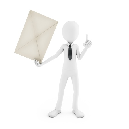 paper delivery person: 3d man holding an envelope isolated on white background