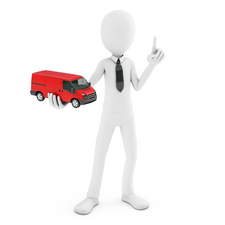 white truck: 3d man with generic toy van isolated on white background