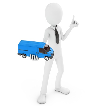 3d man with generic toy van isolated on white background photo