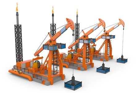 3d Oil Pump jacks isolated on white photo