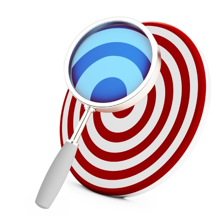 3d target with magnifying glass isolated on white background photo