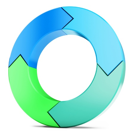 3d circle: 3d arrow circle isolated on the white  Stock Photo