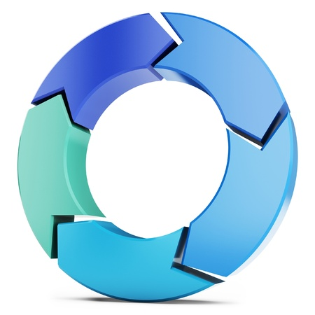3d arrow circle isolated on the white  Stock Photo