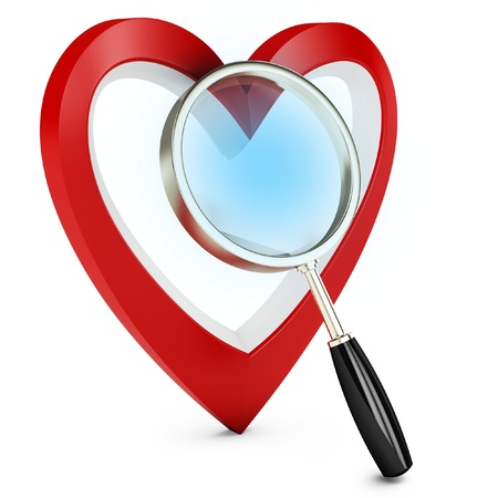 3d heart and magnify glass, concept searching for love on white background photo
