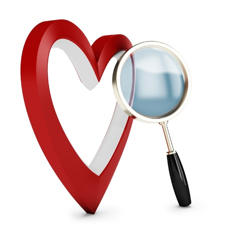 lupe: 3d heart and magnify glass, concept searching for love on white background