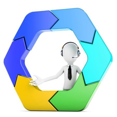3d man with arrow hexagon isolated on the white  photo