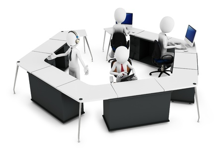 3d man with support team at call center on white background