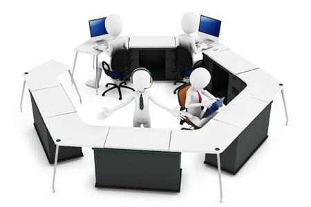 3D man met support team bij call center op een witte achtergrond Stockfoto