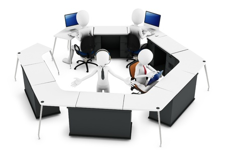 3d man with support team at call center on white background photo
