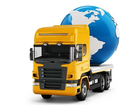 3d truck with earth globe delivery on white background photo