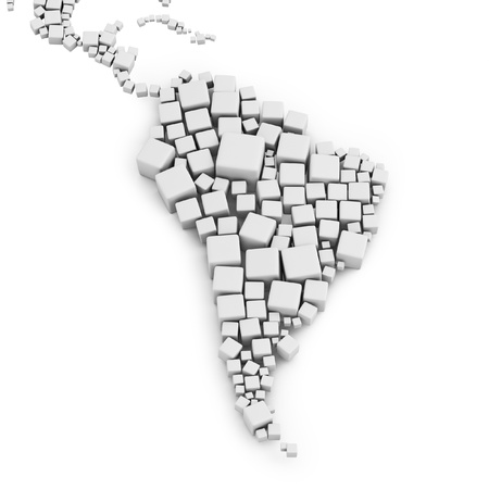 south america map: 3d map of the south america made out of blocks on white background