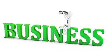 opportunity discovery: 3d man businessman seeking opportunities with binoculars