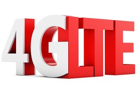 4g: 3d sign of 4G LTE broadband on white background