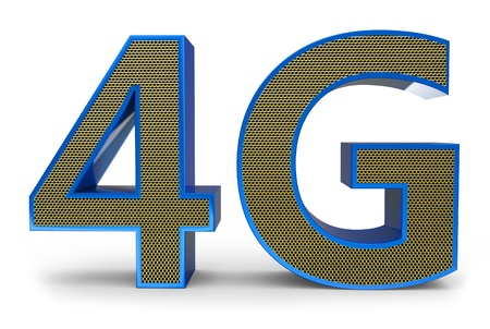 3d sign of 4G broadband on white background photo