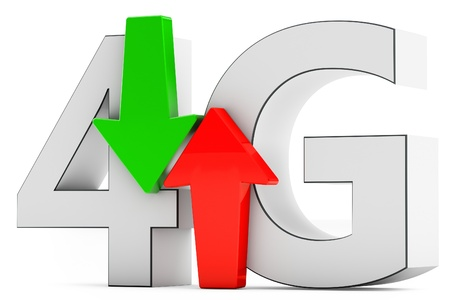 lte: 3d data traffic with 4G wireless technology on white background