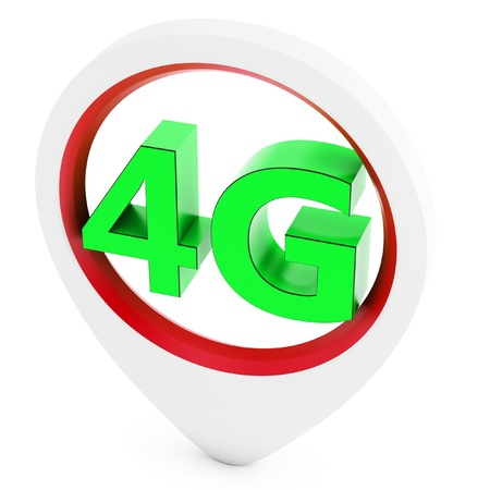 4g: 3d pointer with 4G wireless technology on white background