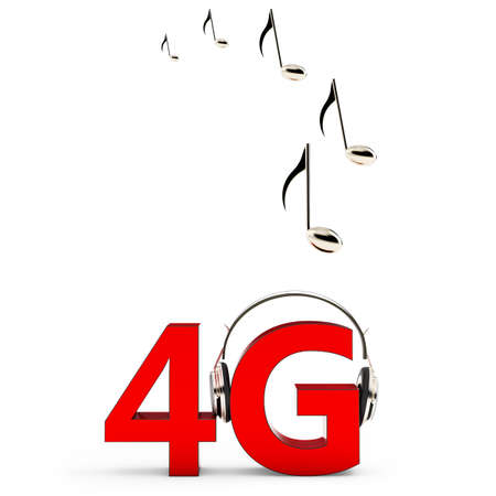 4g: 3d sign of 4G music download with headphones on white background Stock Photo
