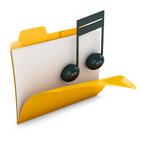 3d yellow folder icon with musical notes isolated on white photo