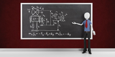 3d man research scientist with physics drawing on a blackboard  photo
