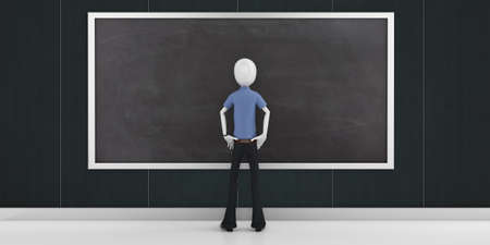 3d man with a blank blackboard detailed photo