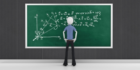 3d man with mathematic equations on a blackboard  photo