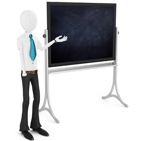 3d man teacher with blackboard on white background photo
