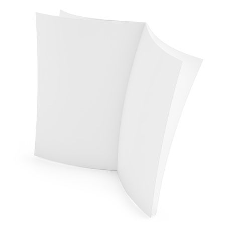 3d blank newspaper on white background photo