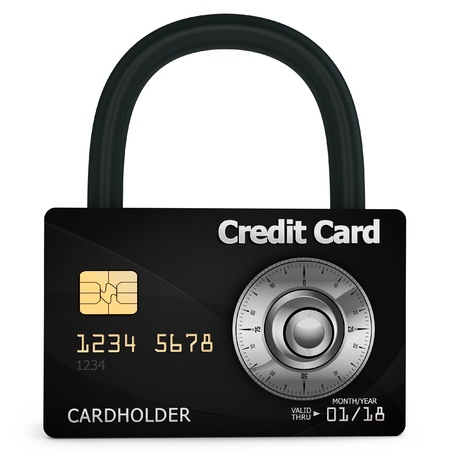 3d credit card with security lock on white background photo
