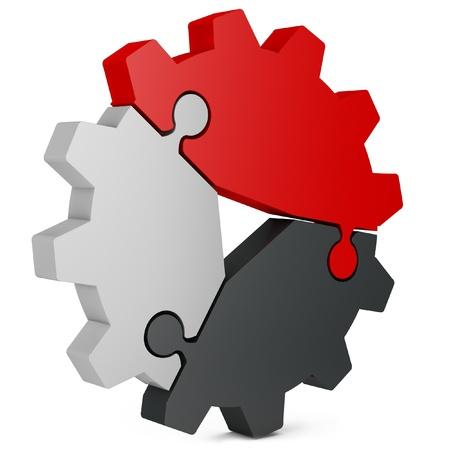 3d business teamwork, partnerschap en succes concept versnelling van puzzelstukjes op een witte achtergrond